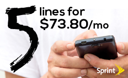 5 Lines for $73.80 with Sprint's Family Share Pack